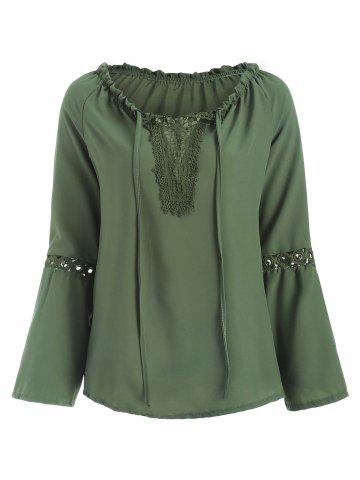 Panel Hollow Out Flare Sleeve Blouse