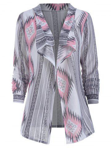 Long Sleeve Geometric Print Knit Cardigan