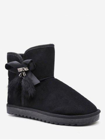 Ribbon Bowknot Detail Suede Snow Boots