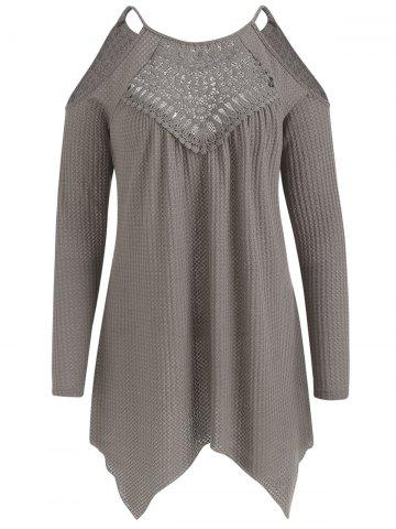 Open Shoulder Hollow Out Front Tunic Sweater