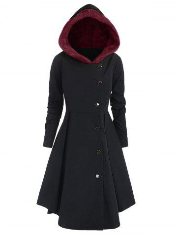 Plus Size Contrast Asymmetric Fleece Hooded Skirted Coat