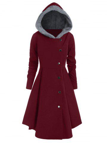 Plus Size Contrast Asymmetric Hooded Skirted Coat - RED WINE - 4X