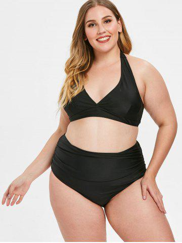 Open Back Plus Size Halter Neck Bikini Set