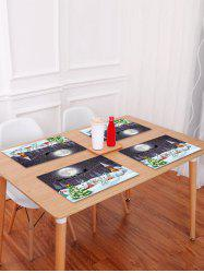 1PC Christmas Tree Elk Moon Printed Placemat -