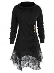 Plus Size Heaps Collar Lace Panel Tunic Top -