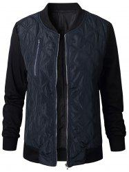 Quilted Zip Fly Bomber Jacket -