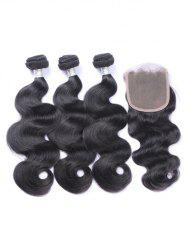 Human Hair Body Wave Hair Weaves with Lace Frontal Closure -