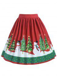 Plus Size Mid Calf Christmas Graphic Skirt -