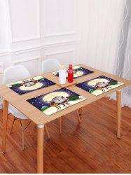 1PC Cartoon Father Christmas Deer Printed Placemat -
