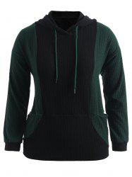 Color Block Plus Size Textured Pullover Hoodie -