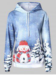 Christmas Snowman Pattern Front Pocket Hoodie -