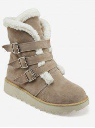 Plus Size Buckle Strap Faux Fur Mid Calf Boots -
