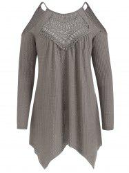 Open Shoulder Hollow Out Front Tunic Sweater -