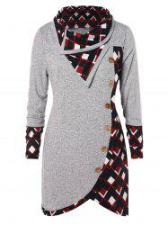Plus Size Plaid Buttons Long Tunic T-shirt -