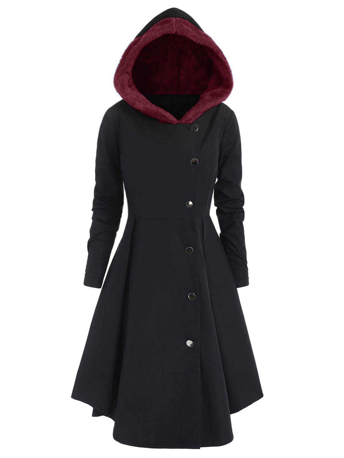 New Plus Size Contrast Asymmetric Hooded Skirted Trench Coat