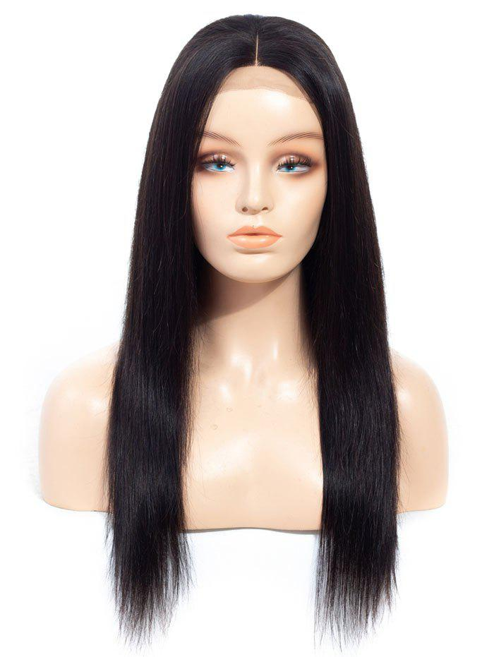 Buy Middle Part Straight Human Hair Lace Wig with Lace Closure
