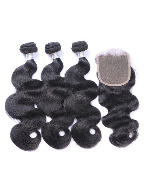 Outfits Human Hair Body Wave Hair Weaves with Lace Frontal Closure