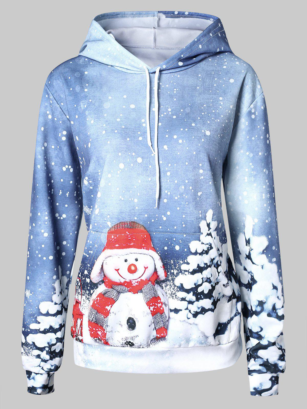 Outfits Christmas Snowman Pattern Front Pocket Hoodie