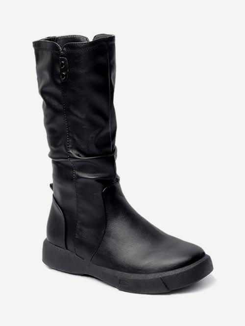 Hot PU Leather Ruched Mid Calf Boots
