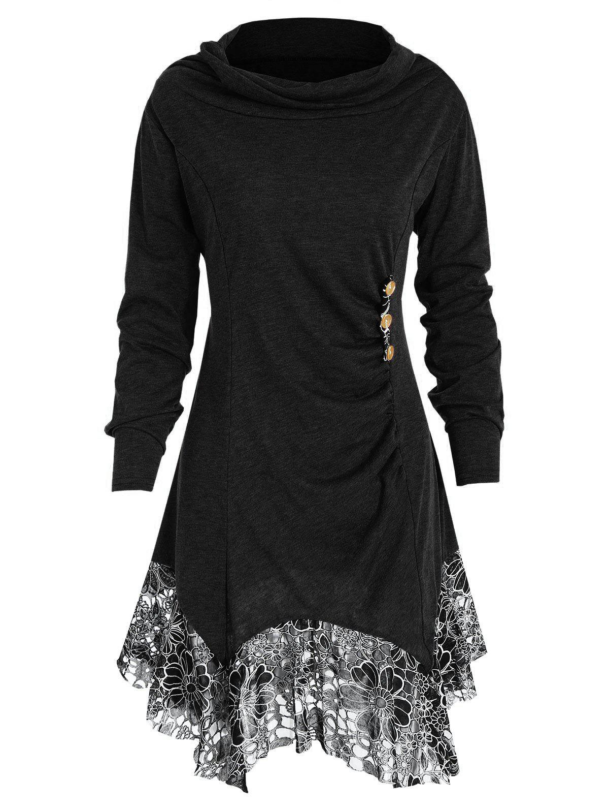 Fashion Plus Size Heaps Collar Lace Panel Tunic Top