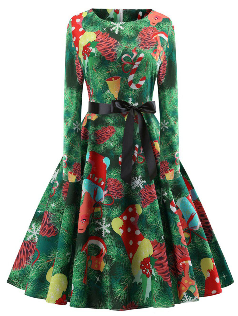 Buy Plus Size Vintage Christmas Printed Flare Dress