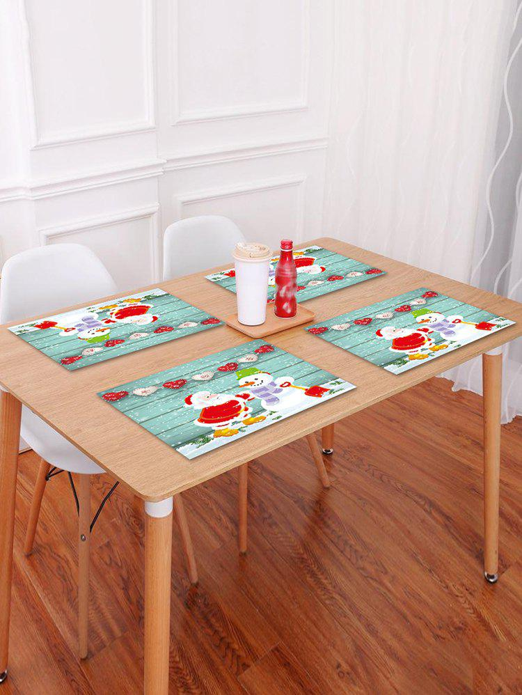 Chic 1PC Father Christmas Snowman Wooden Printed Placemat