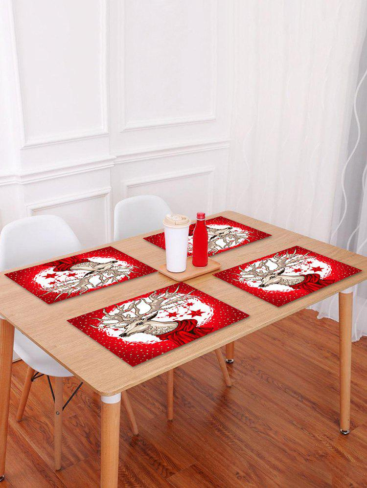 Fancy 1PC Christmas Deer Star Printed Placemat