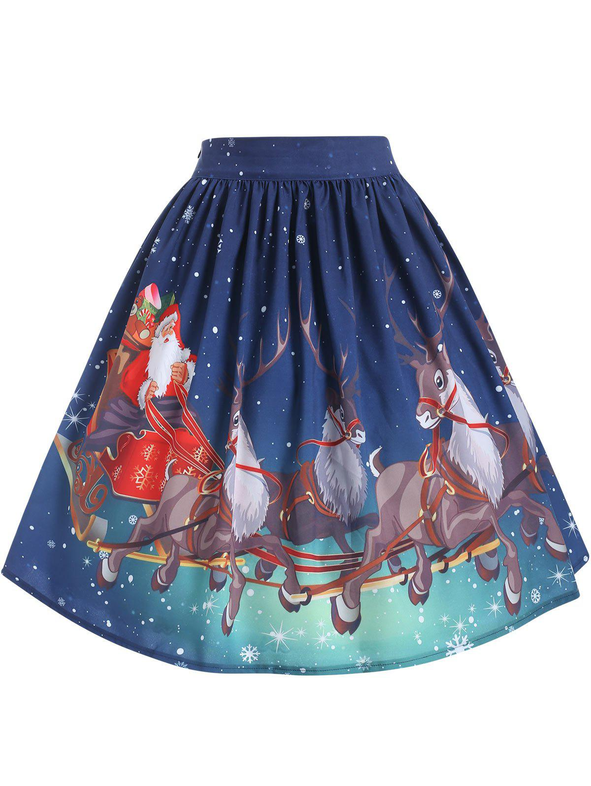 Fancy Plus Size High Waisted Christmas Printed Skirt