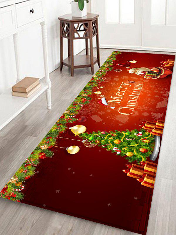 Christmas Tree Baubles Santa Print Area Rug