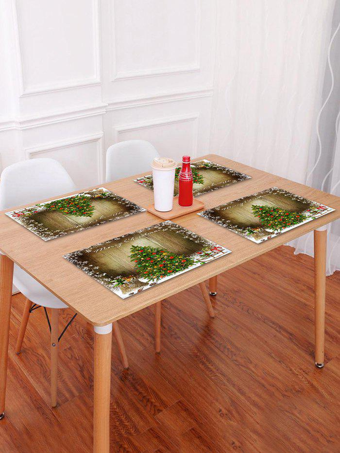 Hot 1PC Merry Christmas Tree Wooden Printed Placemat