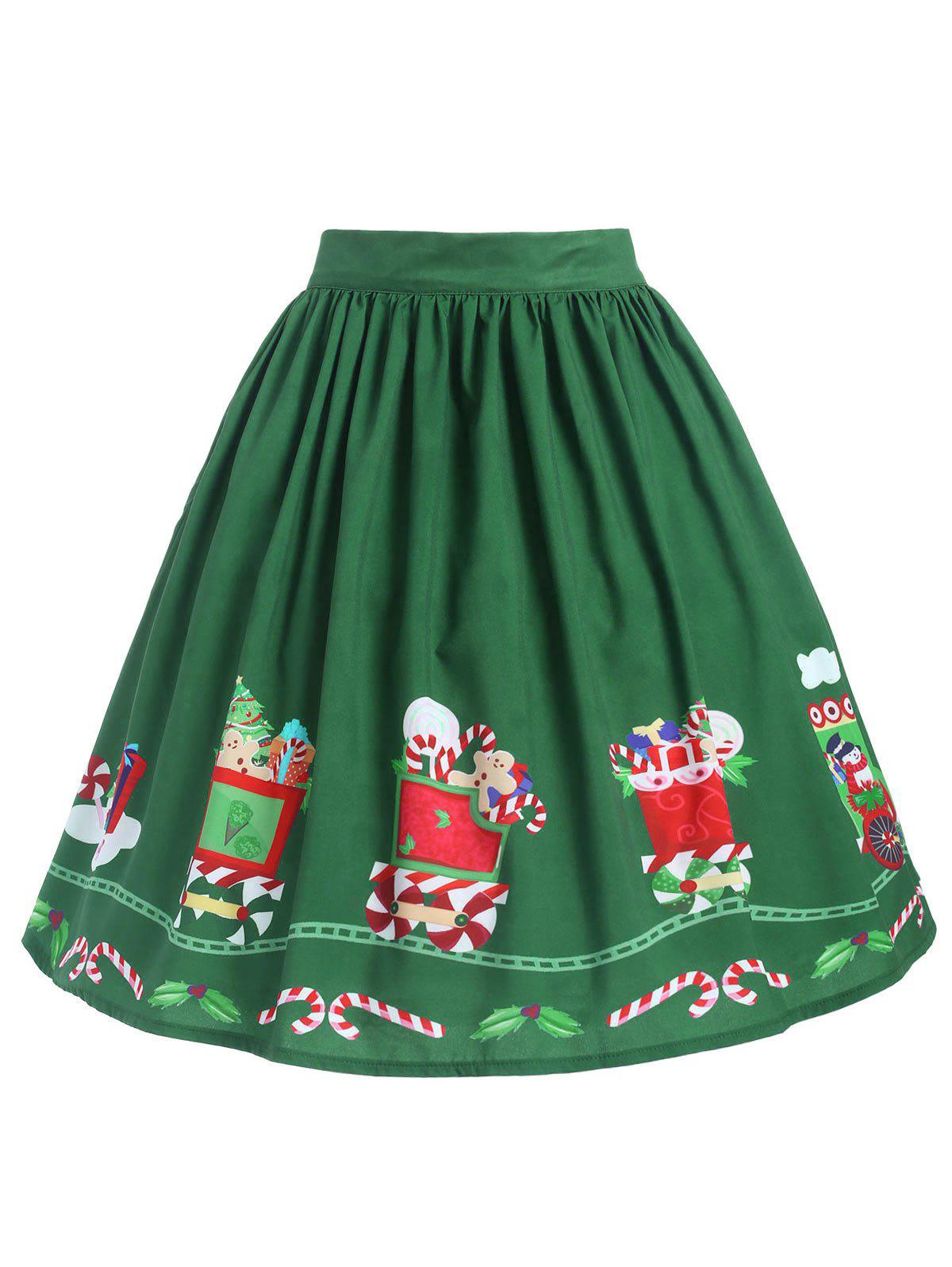 Outfits Plus Size Mid Calf Printed Christmas Skirt