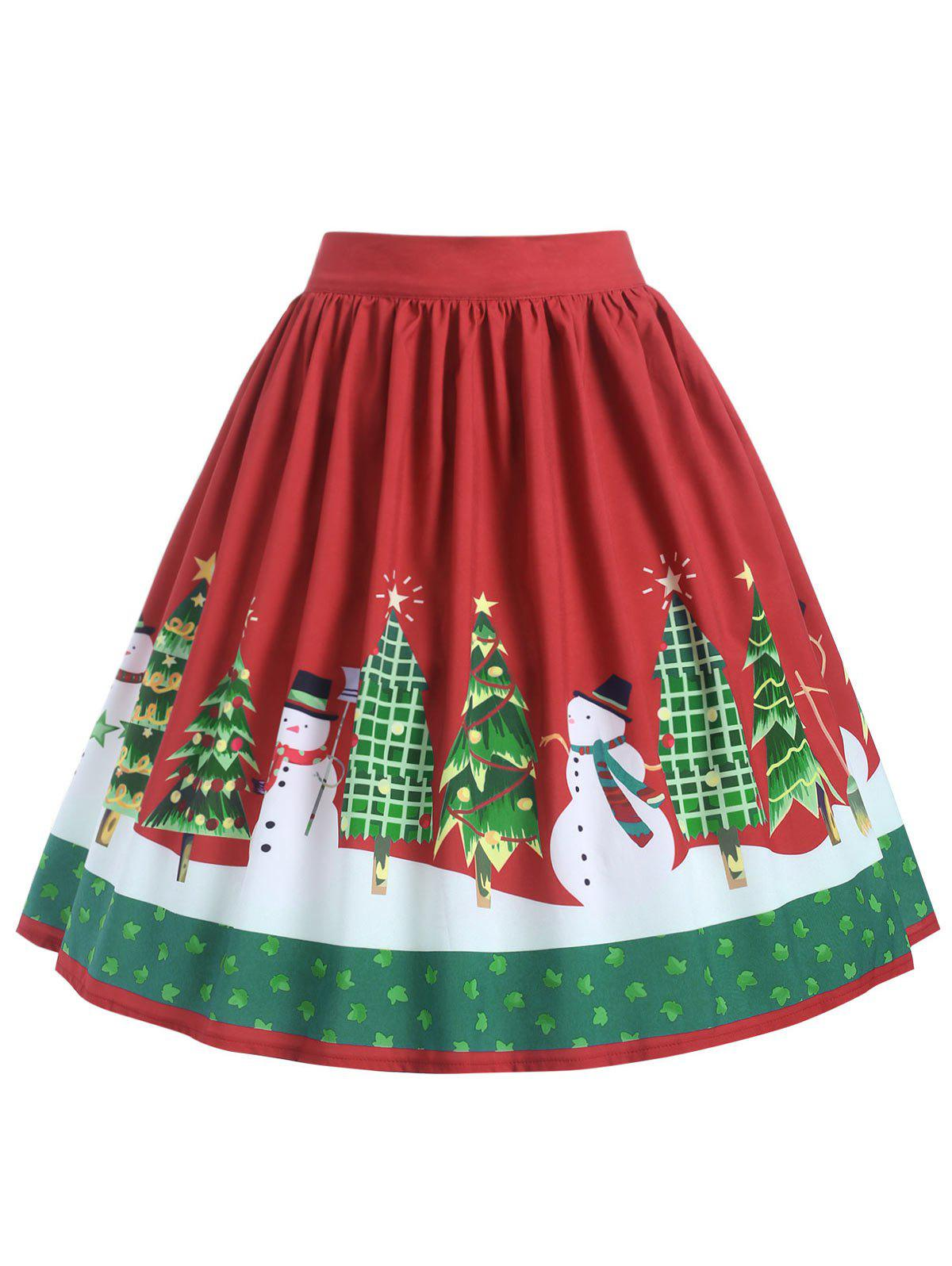 Discount Plus Size Mid Calf Christmas Graphic Skirt