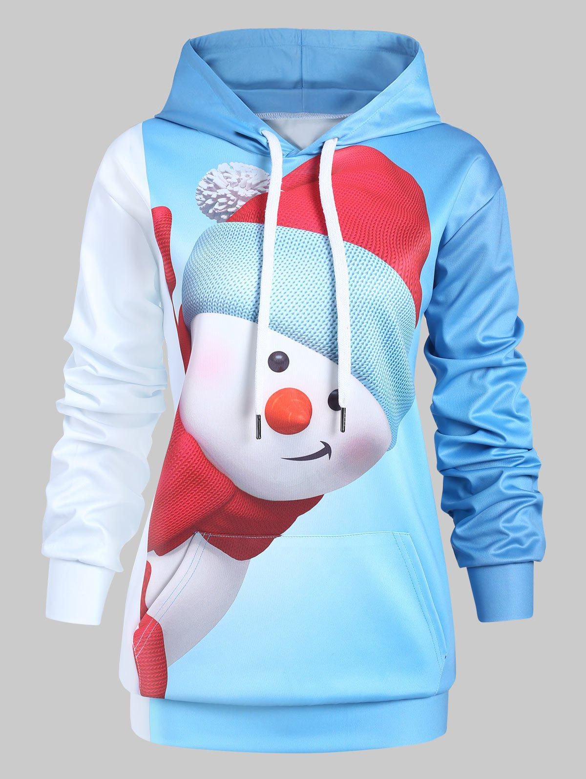 Store Plus Size Christmas Snowman Hoodie with Pocket