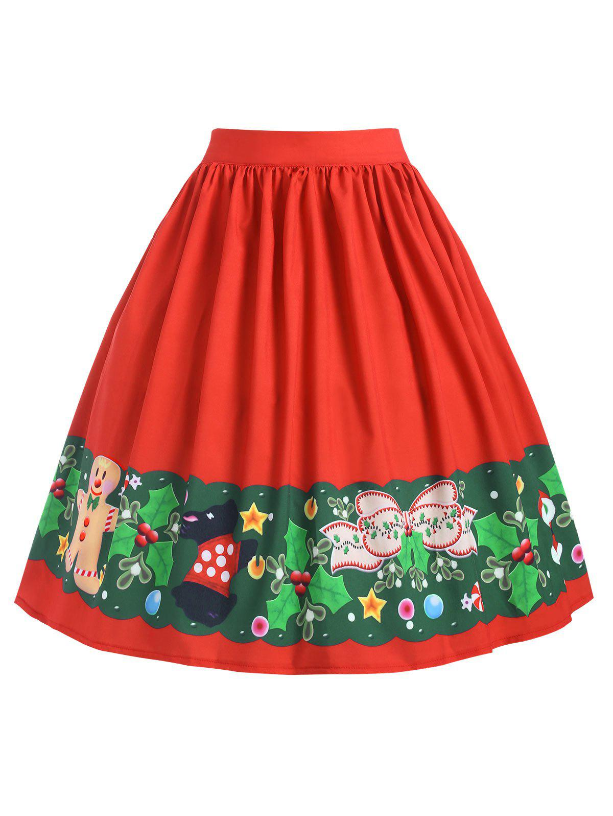 Outfit Plus Size Christmas Mid Calf Printed Skirt