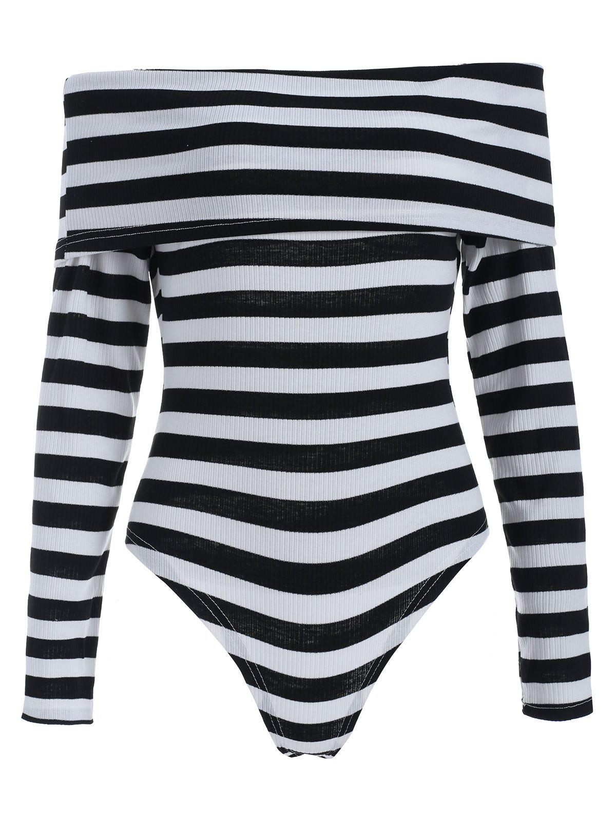 Outfit Striped Off The Shoulder Knit Bodysuit