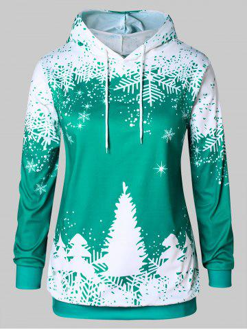 Plus Size Christmas Tree Print Graphic Hoodie