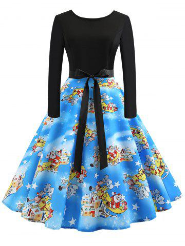 Vintage Long Sleeves Printed Pin Up Dress