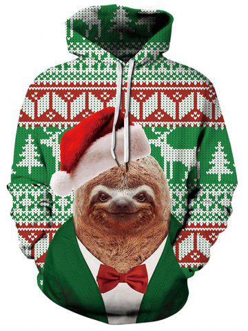 Christmas Animals Geometric Print Casual Hoodie
