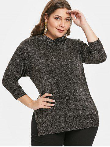 Plus Size Asymmetric Slit Pullover Hoodie