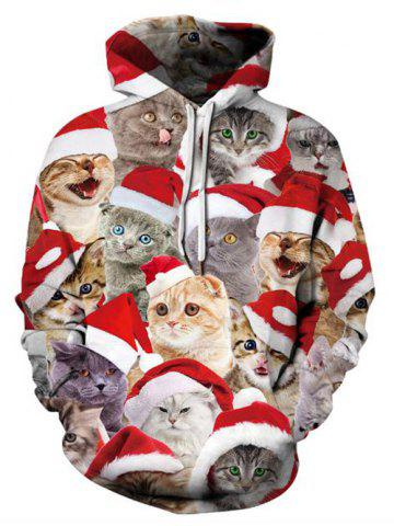 Christmas Cats Printed Casual Pullover Hoodie