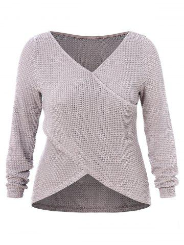 Plus Size Criss Cross High Low Wrap Sweater