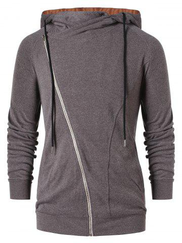 Asymmetric Zip Color Block Hoodie - DARK GRAY - 2XL