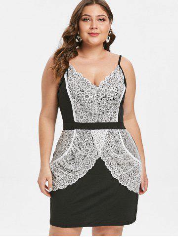 Plus Size Contrast Bodycon Dress with Lace