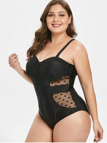 Plus Size Mesh Padded Cami One-piece Swimsuit