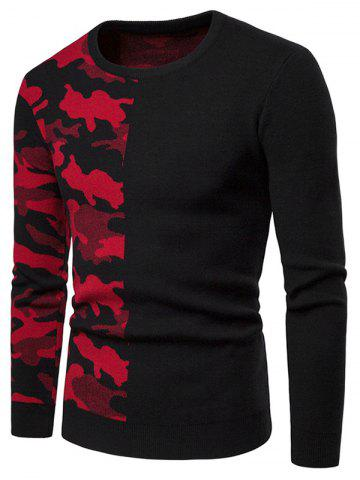 Camouflage Pattern Contract Color Pullover Sweater