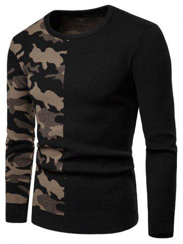 Camouflage Pattern Contract Color Pullover Sweater - LIGHT KHAKI - XS