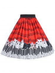 Plus Size Printed Mid Calf Skirt -