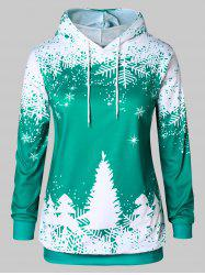 Plus Size Christmas Tree Print Graphic Hoodie -