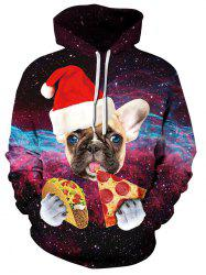 Sweat à capuche Galaxy Dog avec chapeau de Noël -