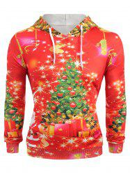 Christmas Tree Print Long Sleeve Hoodie -